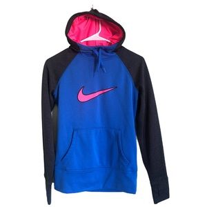 Nike Blue and Hot Pink Thermafit Hoodie XS